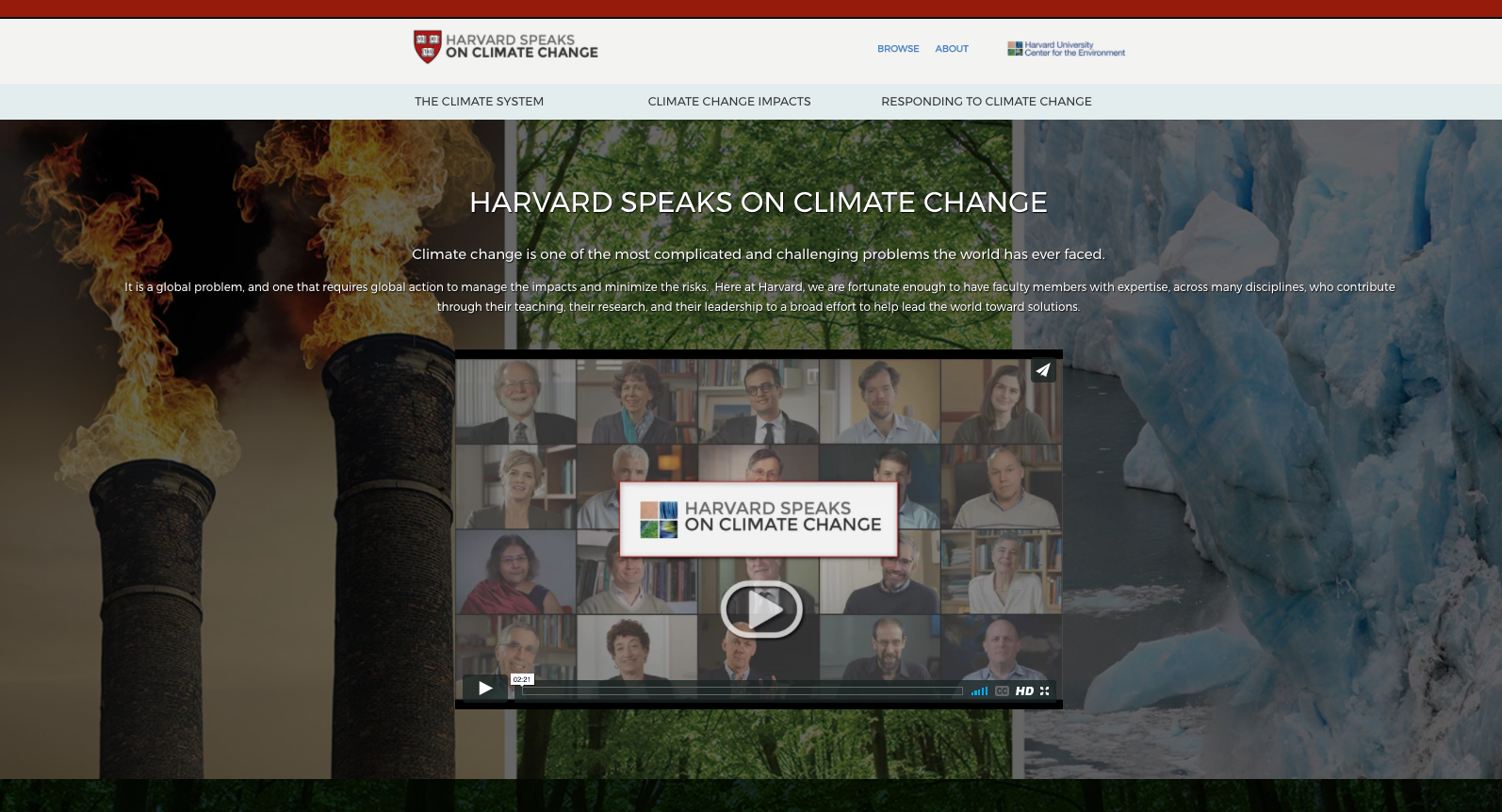 HARVARD SPEAKS ON CLIMATE CHANGE
